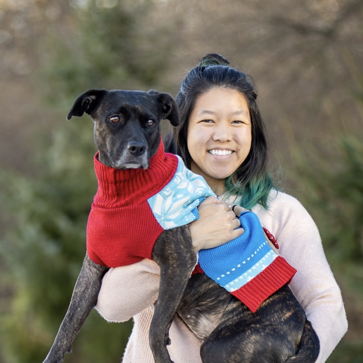 Beth Qiang with her dog, Ginny